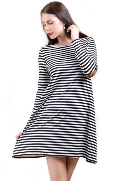 ba399bdc4 Faux Suede Elbow Patch Striped Dress - orangeshine.com