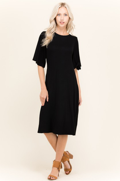 CIRCLE SLEEVE KNIT MIDI DRESS - orangeshine.com