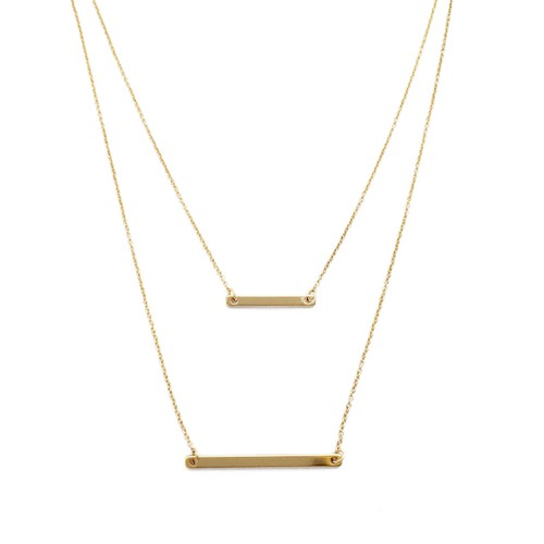 Double Layered Bar Necklace - orangeshine.com