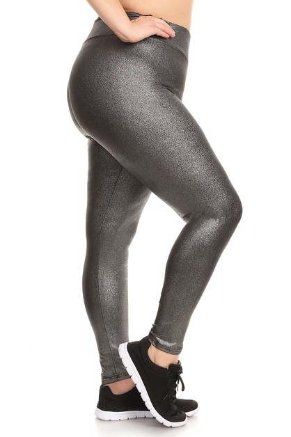 Plus Size Solid Metallic Leggings PU - orangeshine.com