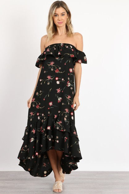Off Shoulder Ruffled Maxi Dress - orangeshine.com