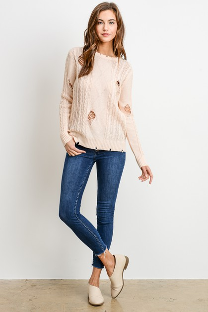 OVER SIZE DISTRESSED SWEATER - orangeshine.com