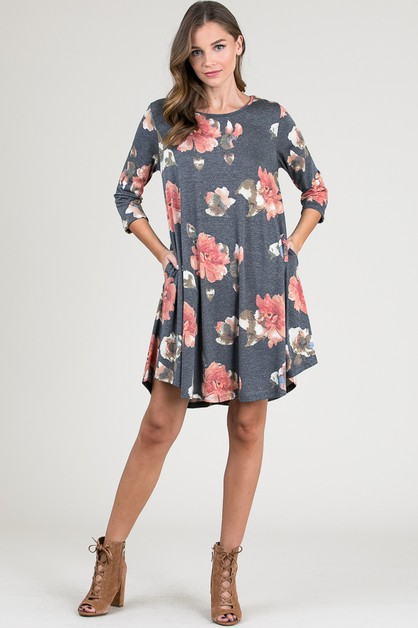 Floral Print Dresses with Pockets - orangeshine.com