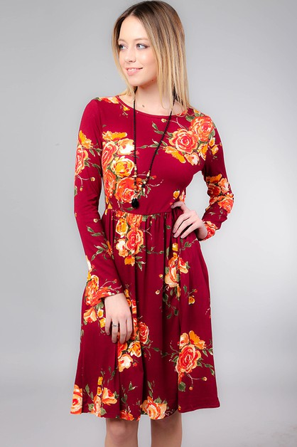 FLORAL PRINT FIT AND FLARE DRESS - orangeshine.com