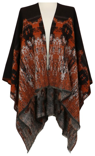 Rust Ruana Wrap Shawl Cover Up - orangeshine.com