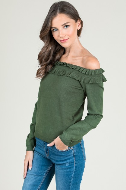 FIRILLED OFF THE SHOULDER KNIT TOP - orangeshine.com