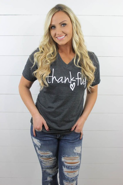 THANKFUL V NECK GRAPHIC TEE - orangeshine.com
