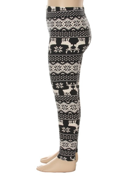 KIDS Snowflake Reindeer Leggings - orangeshine.com