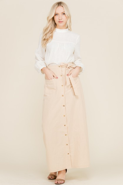 BUTTON DOWN MAXI SKIRT  - orangeshine.com