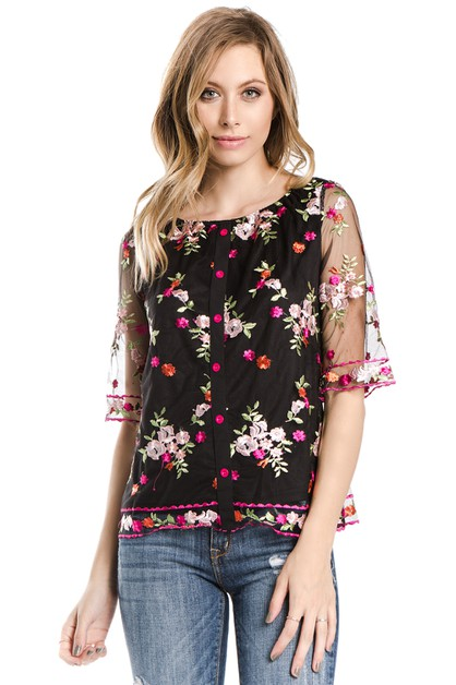 floral embroidery mesh fashion top - orangeshine.com