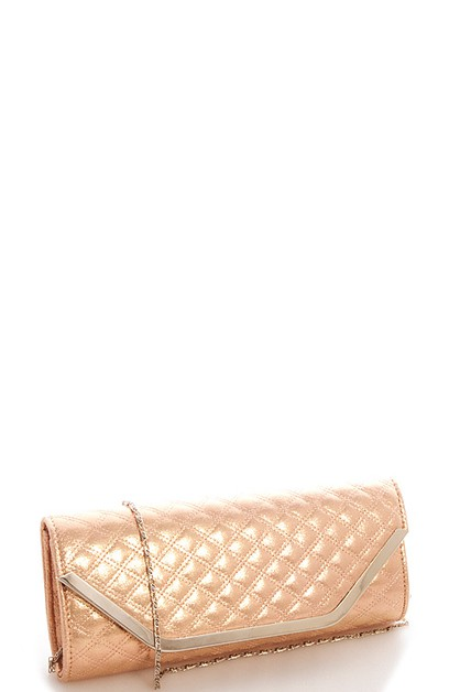 Quilted Silky Clutch with Chain - orangeshine.com