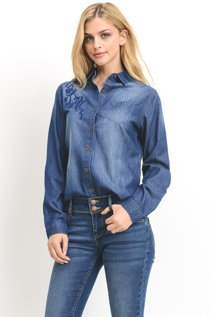 Embroidered Chambray Shirt - orangeshine.com