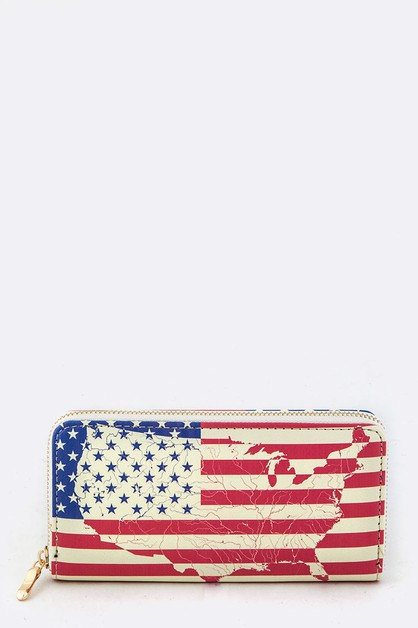 US Map and Flag Print Wallet - orangeshine.com