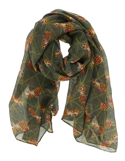 Pineapple Print Oblong Scarf - orangeshine.com