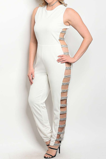 CUTOUT EMBELLISHED BAND JUMPSUIT - orangeshine.com