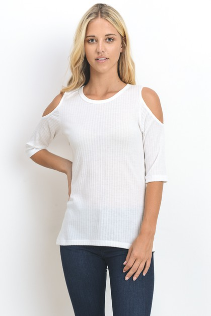 COLD SHOULDER 1X1 RIB  TOP - orangeshine.com