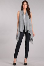 Knit, long body vest in a loose fit  - orangeshine.com