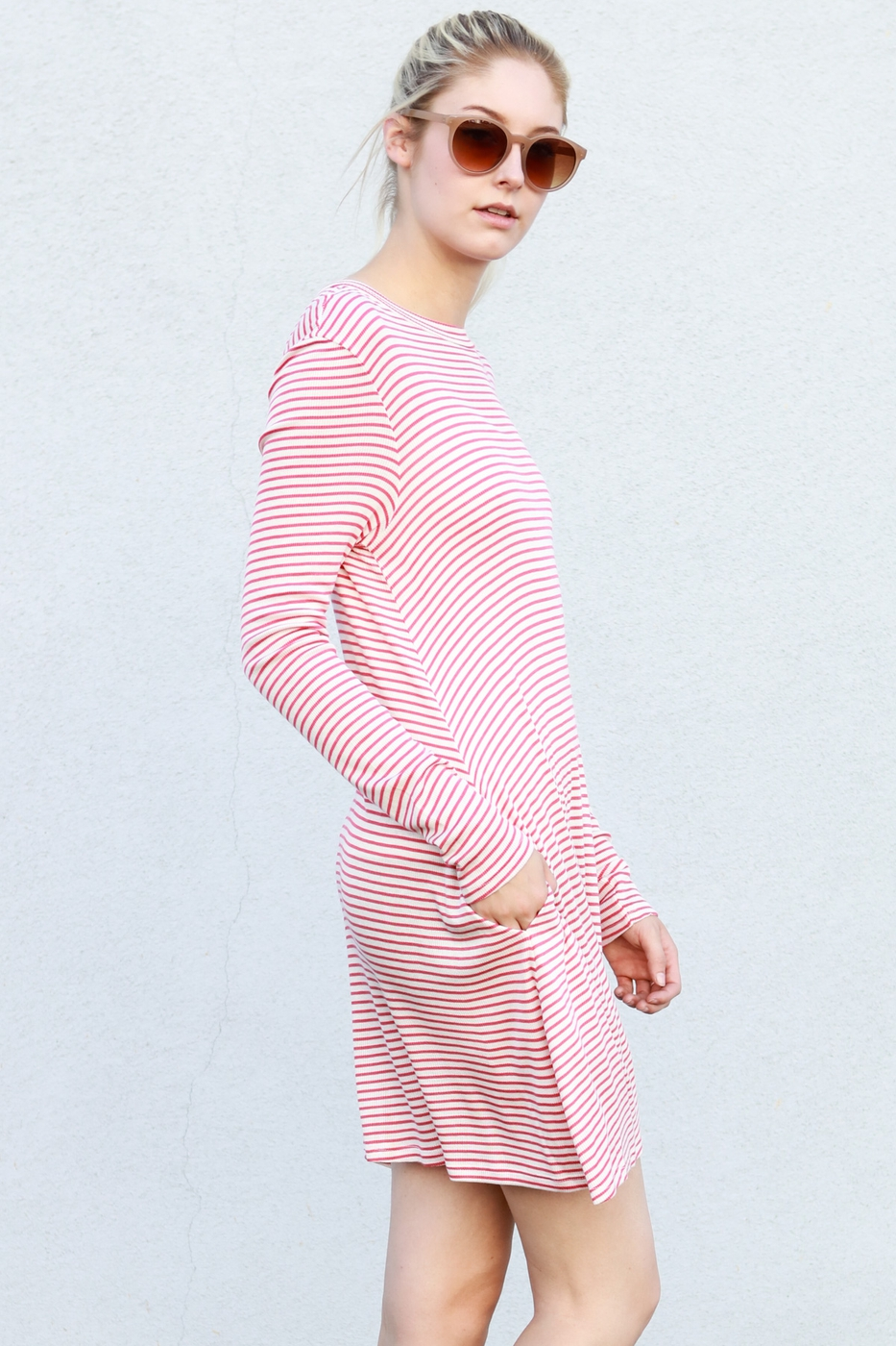 long sleeve stripe short dress - orangeshine.com