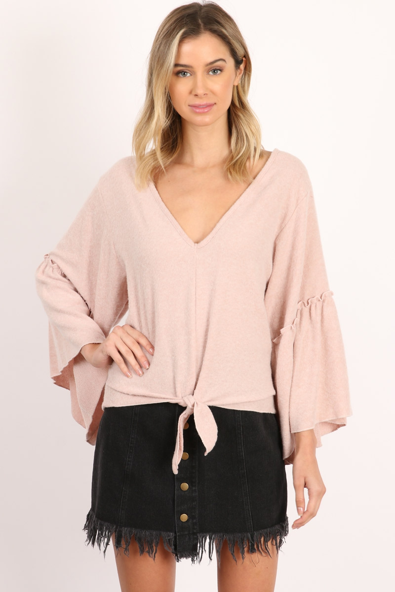 Bell Sleeve Tie Front Cozy Top - orangeshine.com