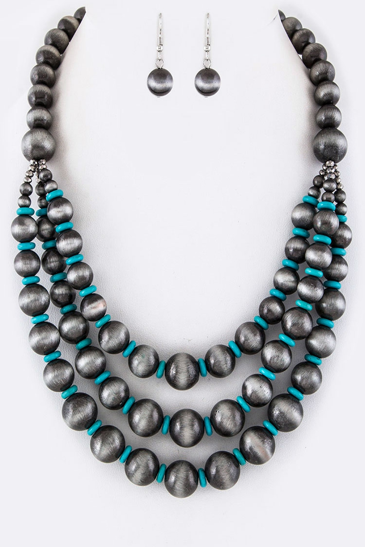 Mix Beads Layer Necklace Set - orangeshine.com