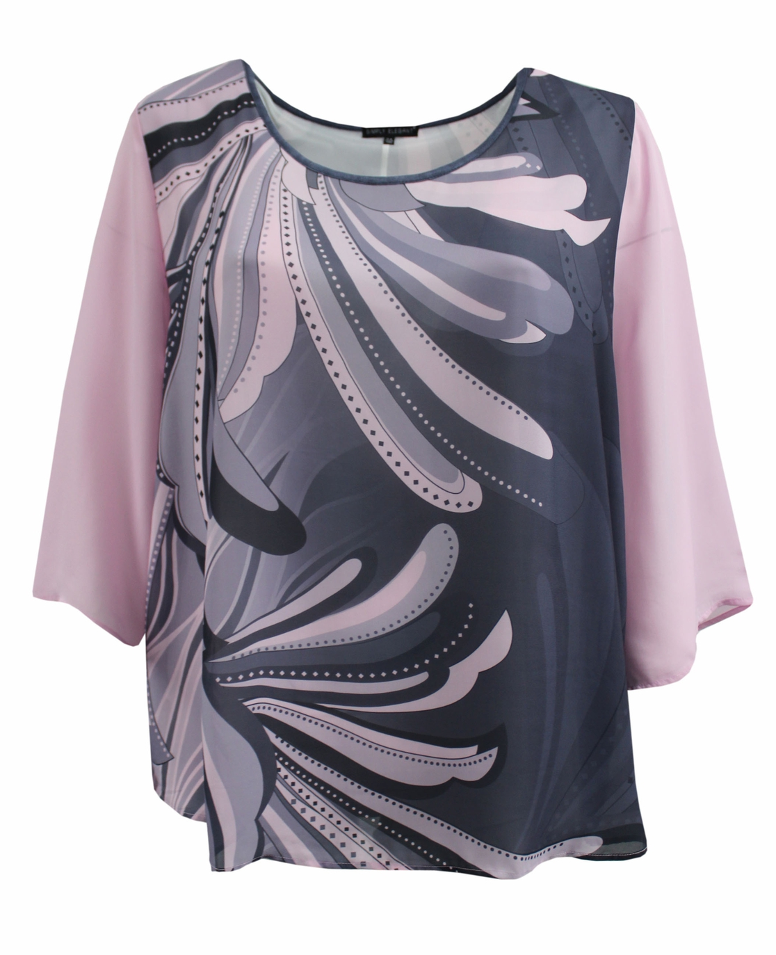 Pink Abstract Floral Chiffon Top  - orangeshine.com