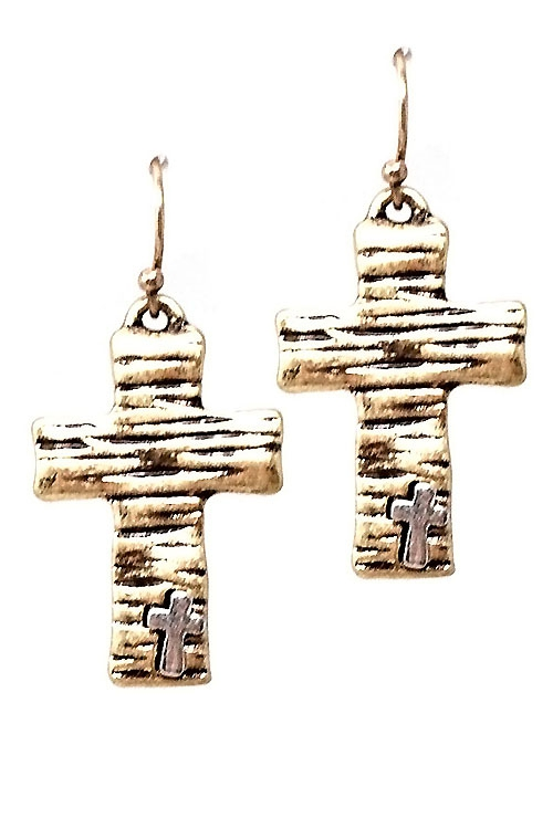 Cross Mix Metal Hook Earrings  - orangeshine.com