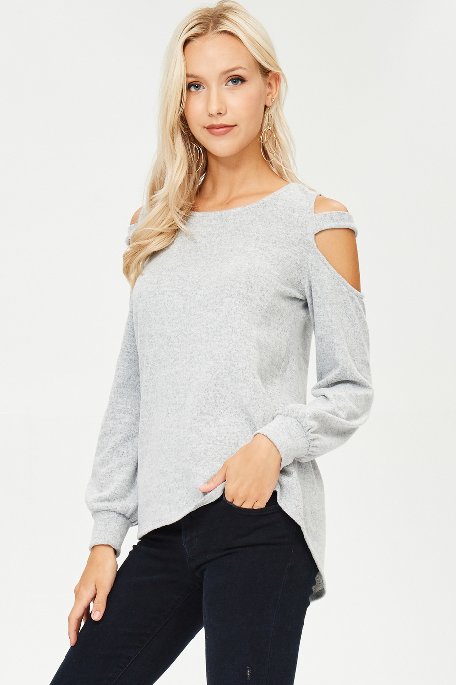 Hacci Knit Cutout Sweater - orangeshine.com