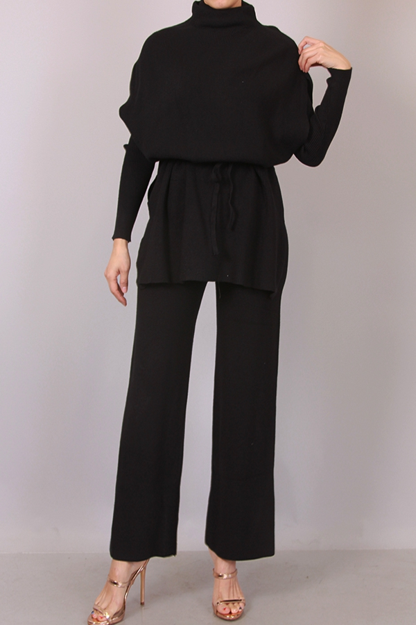 TOP PANTS AND OUTER TOP KNIT SET - orangeshine.com
