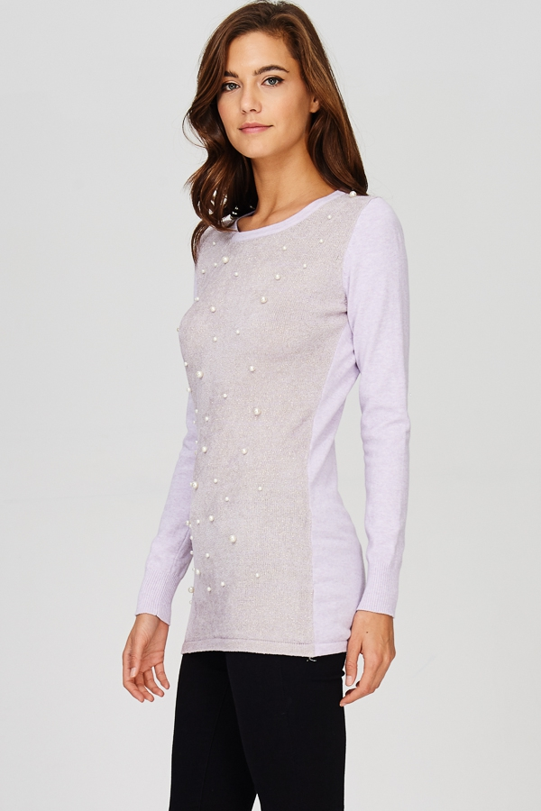 Pearl Embellished Knit Top - orangeshine.com