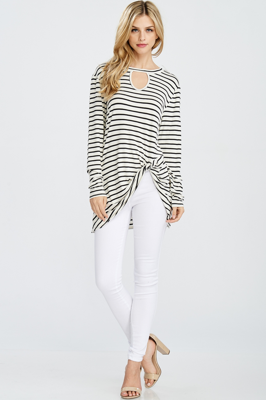 Striped Top With Front Twist Detail - orangeshine.com