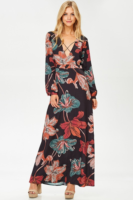 MAXI DRESS CROSS VNECK - orangeshine.com