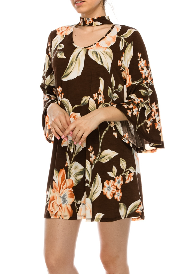 BELL SLEEVE CHEST BACK CUTOUT FLORAL - orangeshine.com