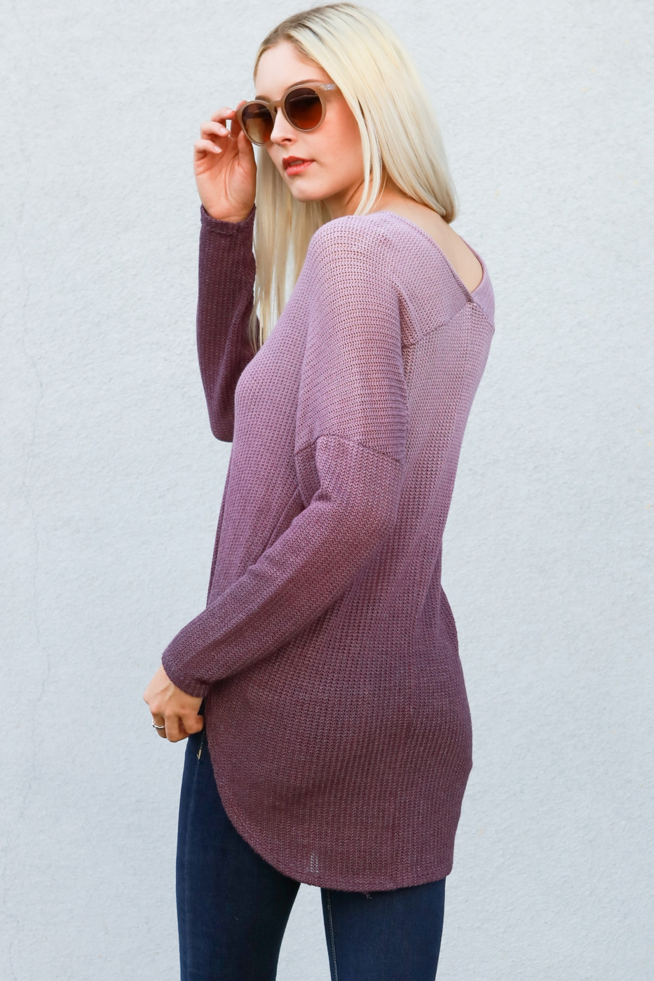 Long sleeve thermal knit sweater top - orangeshine.com