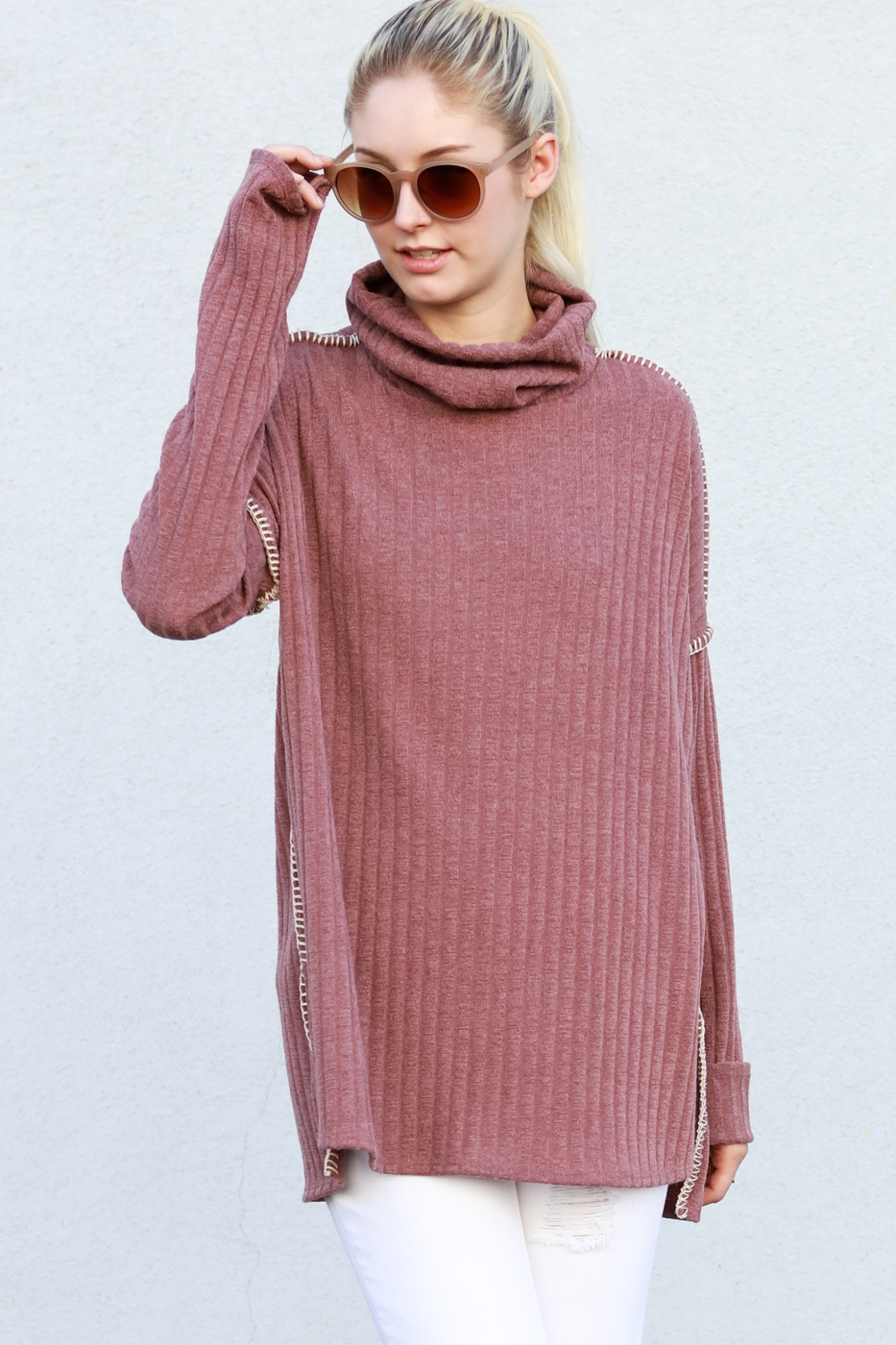 Long blanket stitch turtle neck - orangeshine.com