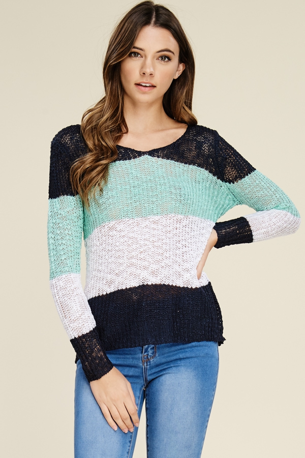 Color Block Pullover Sweater Top - orangeshine.com