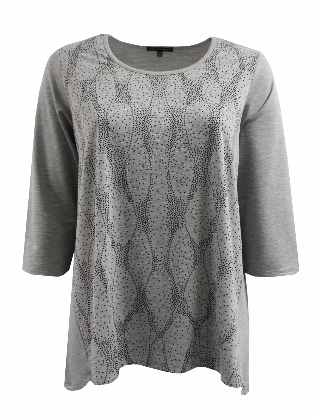 Grey Sweater Top w Rhinestone - orangeshine.com