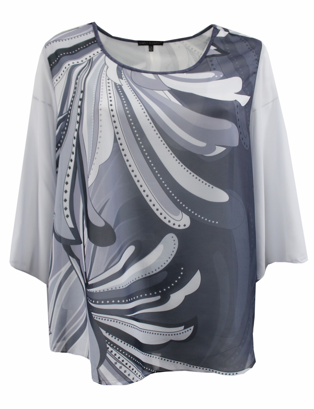 Grey Abstract Floral Chiffon Blouse - orangeshine.com
