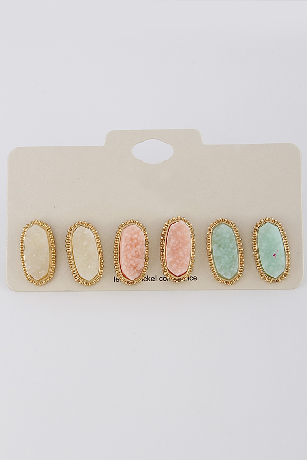 LOVELY OVAL EARRING SET - orangeshine.com