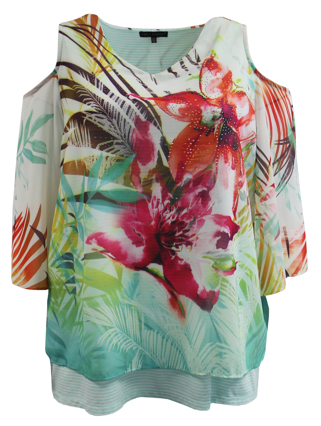 Floral Chiffon Cold Shoulder Blouse - orangeshine.com