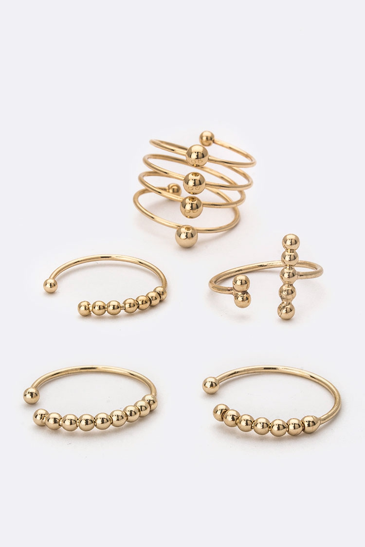 Mix Metal Ball Rings Set - orangeshine.com