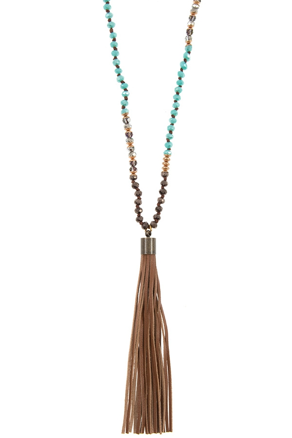 MIX GLASS BEAD ELONGATED TASSEL NECK - orangeshine.com