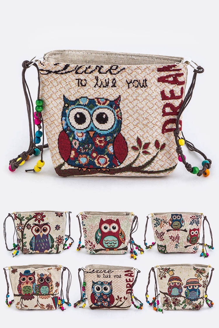 Assorted Comic Owl Crossbody Bag - orangeshine.com