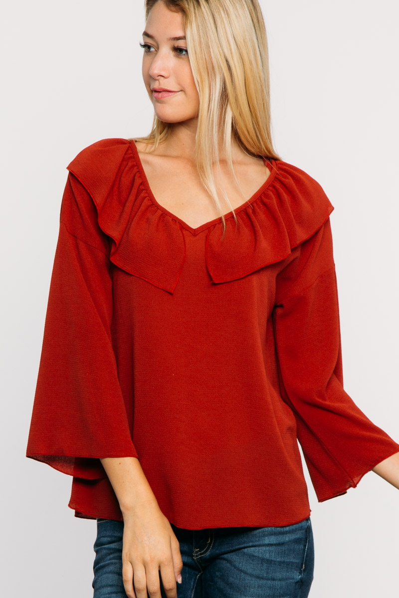 V NECK LAYERED BACK TIE TOP - orangeshine.com