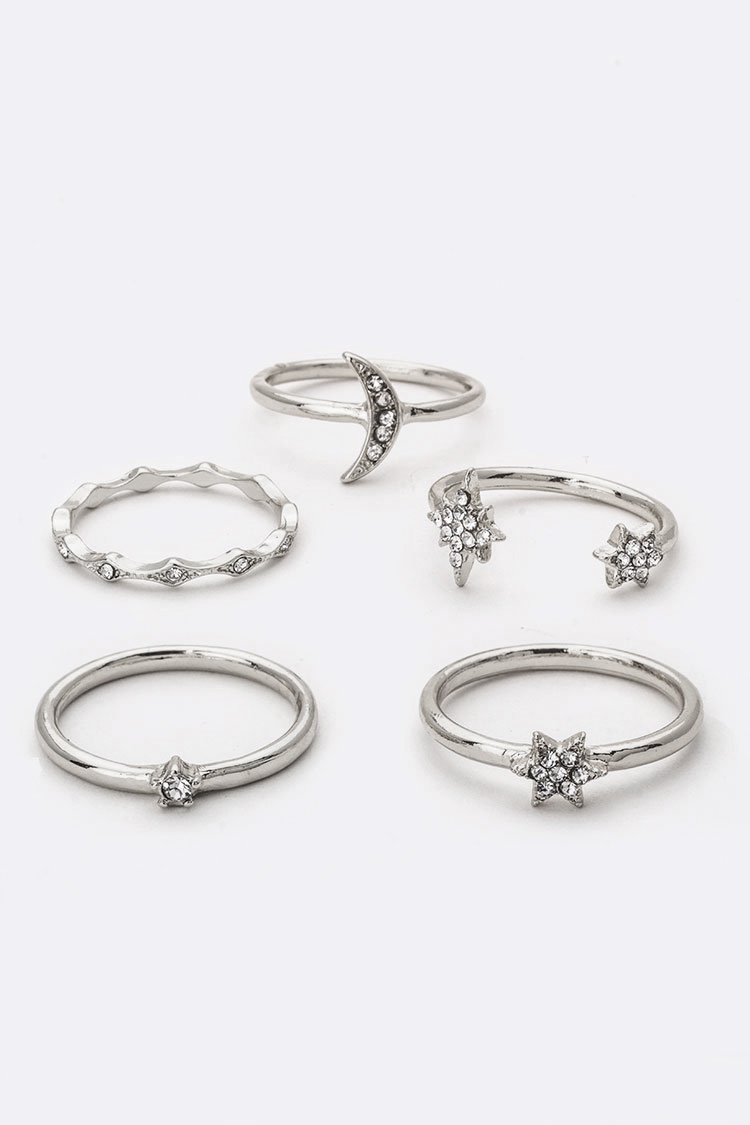 Crystal Star and Moon Rings Set - orangeshine.com
