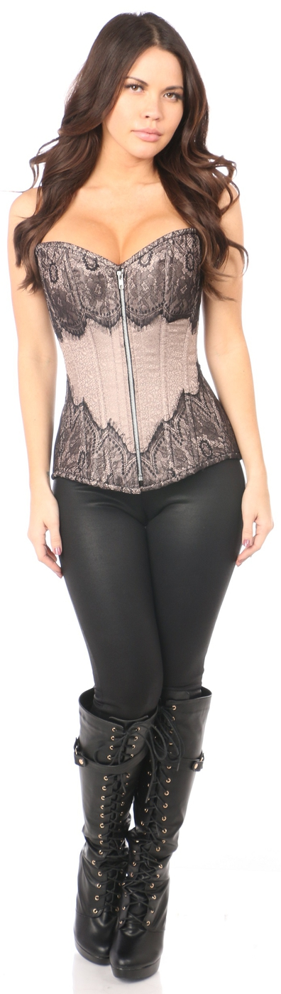 Steel Boned Brocade and Lace Corset - orangeshine.com