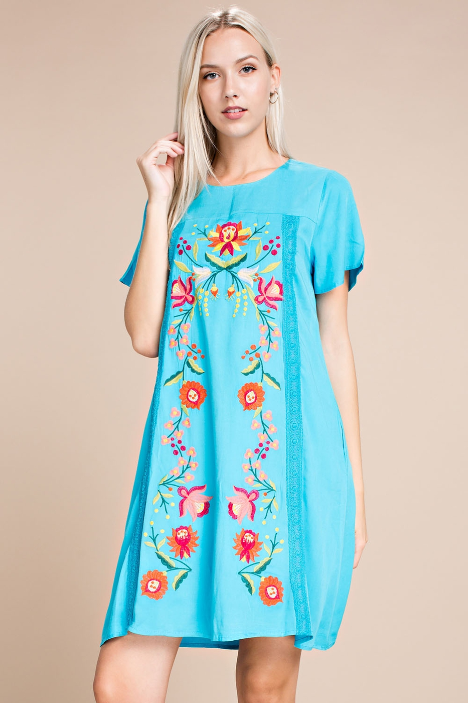 FLORAL EMBROIDERED SHIFT DRESS - orangeshine.com