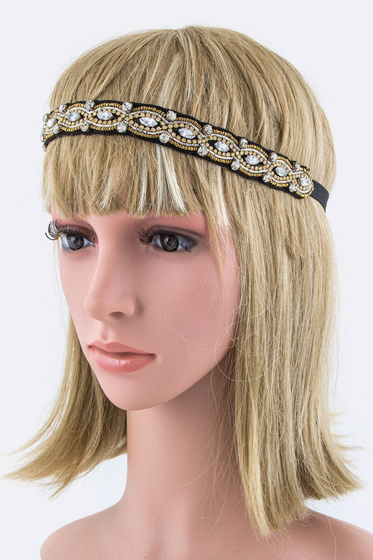Crystal Bead Stretch Headband - orangeshine.com