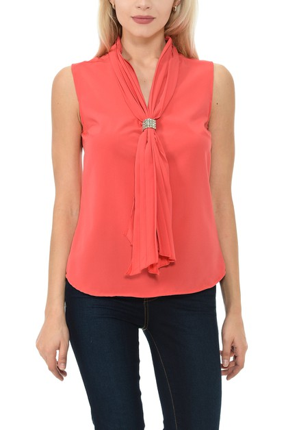 Womens V-Neck Sleeveless Relaxed Fit - orangeshine.com