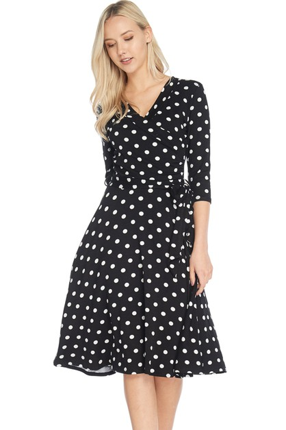 WRAP DRESS POLKA DOT PRINT - orangeshine.com