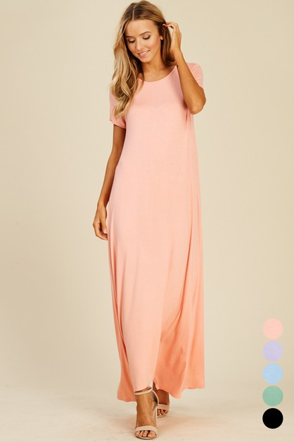 Short Sleeve Uneven Hem Maxi Dress - orangeshine.com